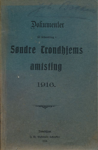 DOKUMENTER TIL BEHANDLING I SØNDRE TRONDHJEMS AMTSTING 1916.