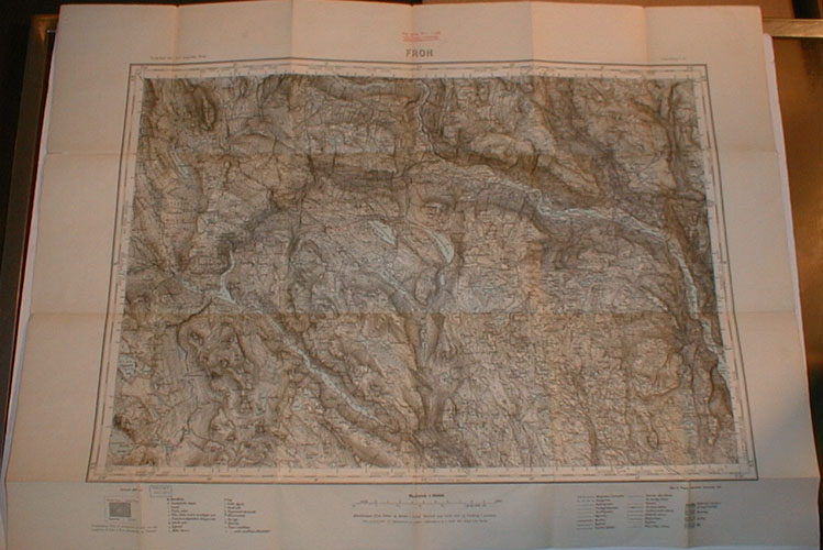 (OPPLAND) Topografisk kart over Norge.  1:100 000.
