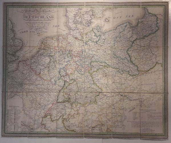 Post und reise-charte von Deutschland und den benachbarten laendern nach Den neuesten Quellen entworfen.