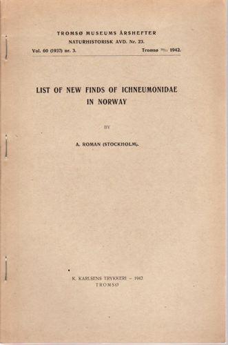 List of new finds of Ichneumonidae in Norway.