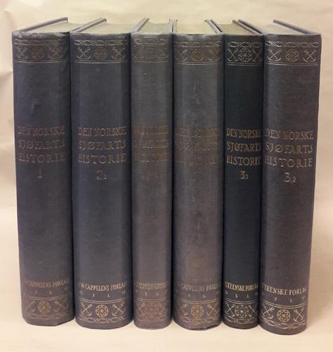 DEN NORSKE SJØFARTS HISTORIE FRA DE ÆLDSTE TIDER TIL VORE DAGE.   I-III i 6 bind. Med bidrag av Alexander Bugge, Fredrik Scheel, Roar Tank, Jac. S. Worm-Müller og en række special-forfattere.