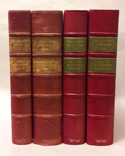 Bibliotheca Norvegica I-IV. Bind I: Norsk Boglexicon 1643-1813. Bind II: Norge og Nordmænd i Udlandets Literatur. Bind III: Norske Forfattere før 1814. Bind IV: Norsek Forfattere efter 1814 (frem til 1824).